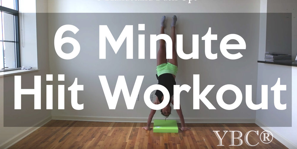 Follow us on Pinterest , and pin this image for easy reference later on!  6 minute hiit workout - handstand push ups, air squats, mountain climbers