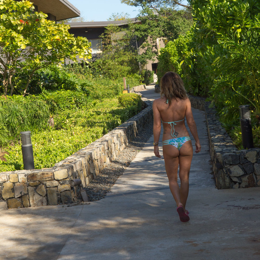 To the beach in Mary Grace Swimwear