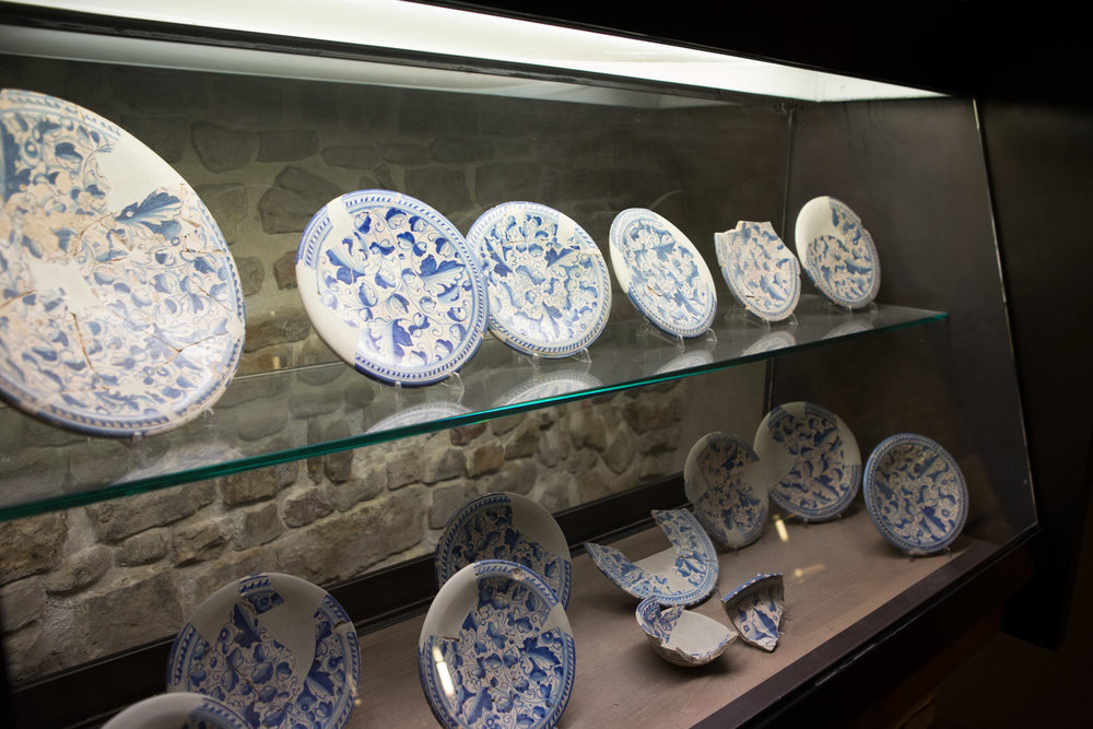 Plates discovered under the tower now displayed in the museum