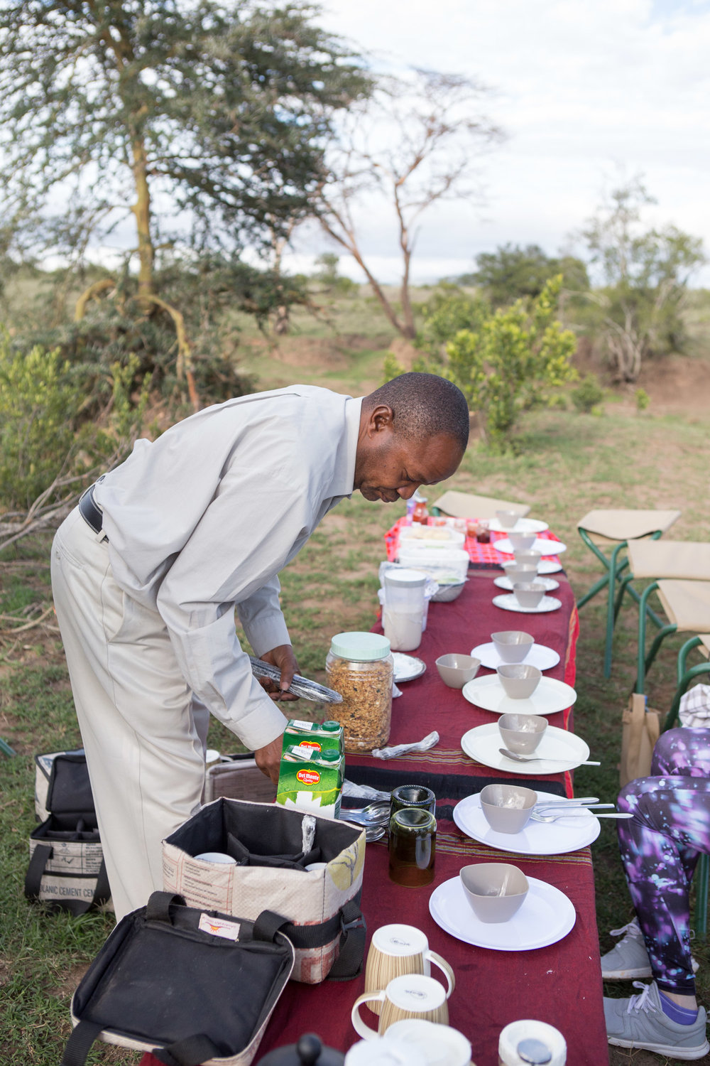 Our guide Albert setting up breakfast