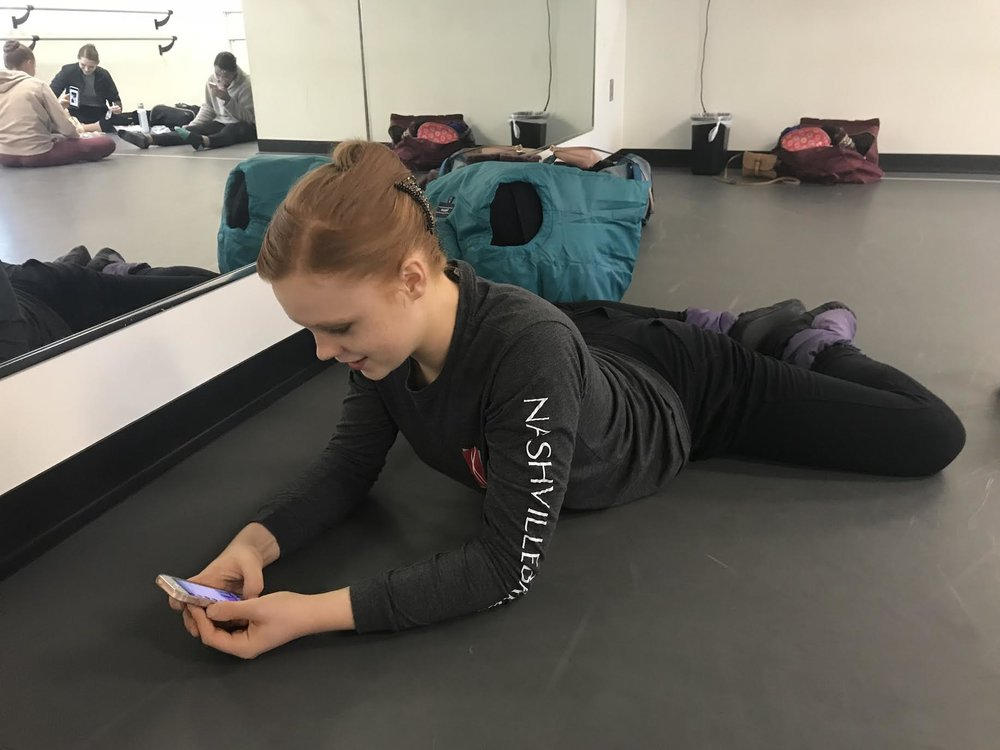1:00pm - Staying warm and stretching before technique class. I usually like to watch any rehearsals that are going on inside the building, but when I can't, ballet videos on Youtube are a great alternative.