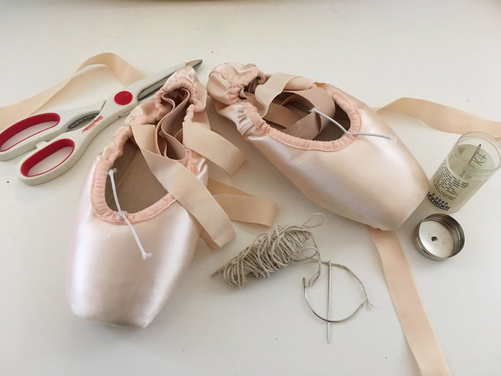 6:30pm - Sewing pointe shoes