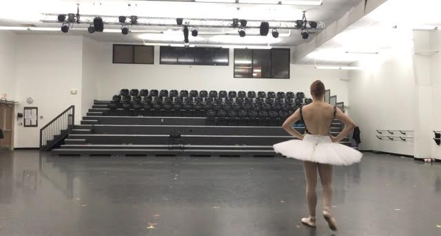 7:30pm - Practicing a variation in the main studio of Nashville Ballet, Studio A