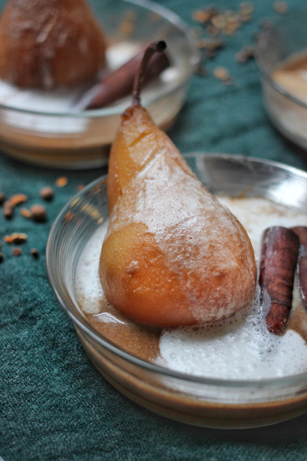 Poached Pears in Coconut Cream