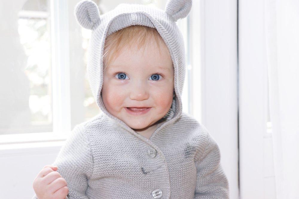 Hudson wearing GAP's  Bear Garter Hoodie