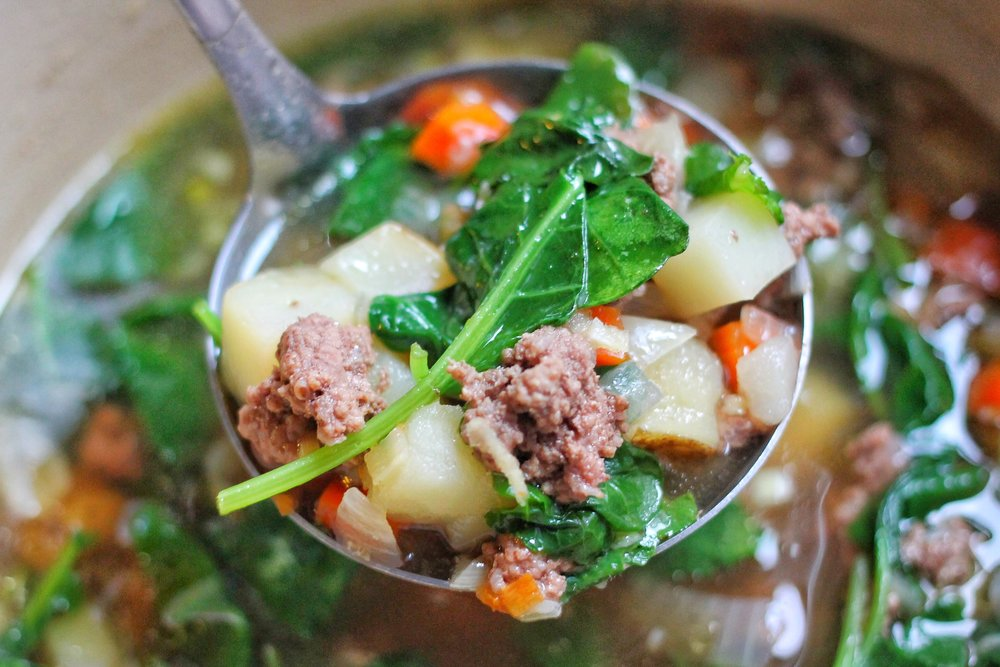 Ground Beef & Kale Stew