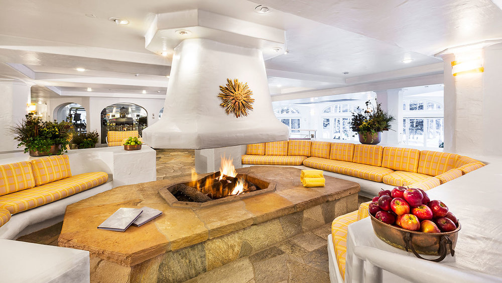 Communal Fireplace at The Sonnenalp Hotel