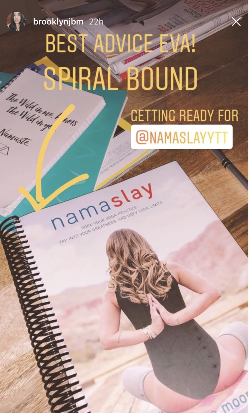 Spiral bound copy of Namaslay!