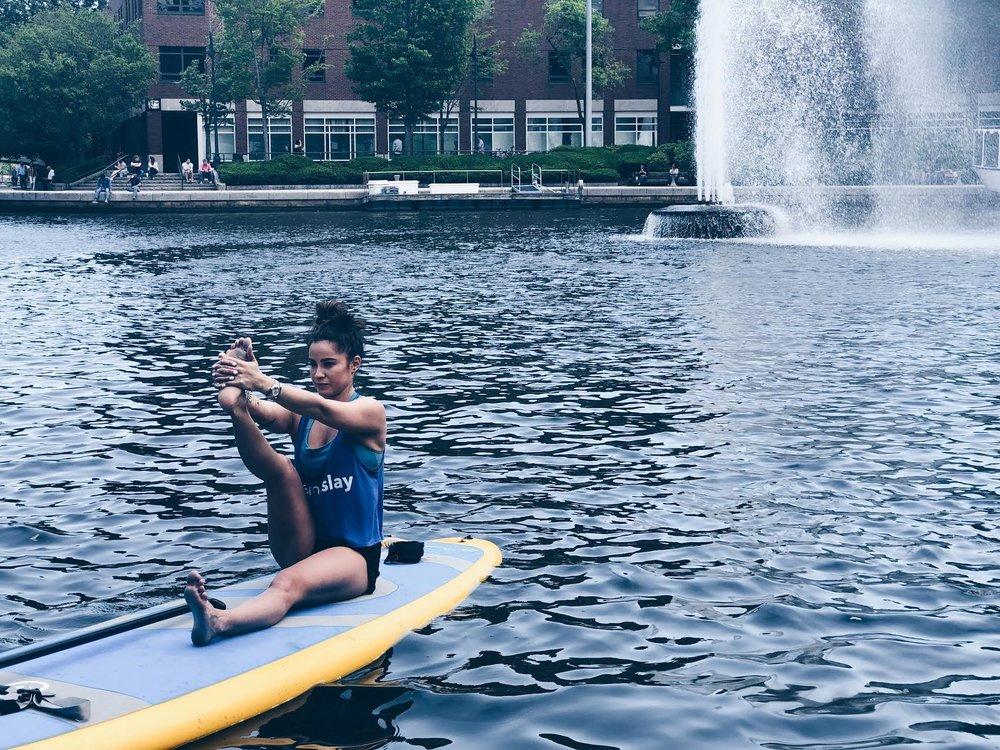 Teaching last week in Boston wearing our  Namaslay® tank