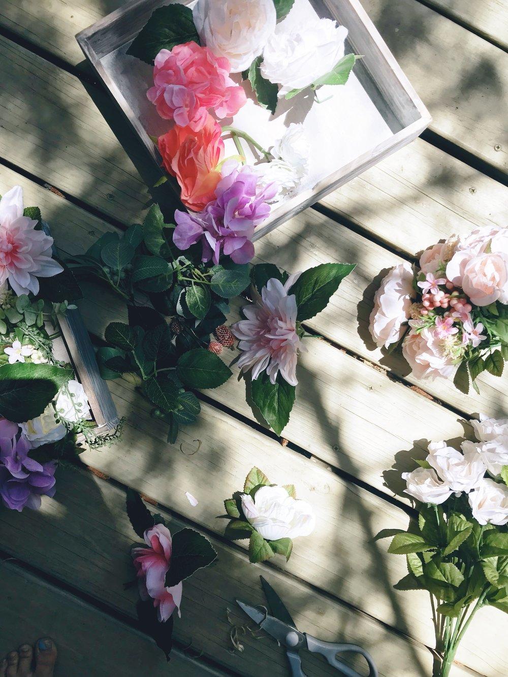 DIY Flower Shadow Box Flower Heads.JPG
