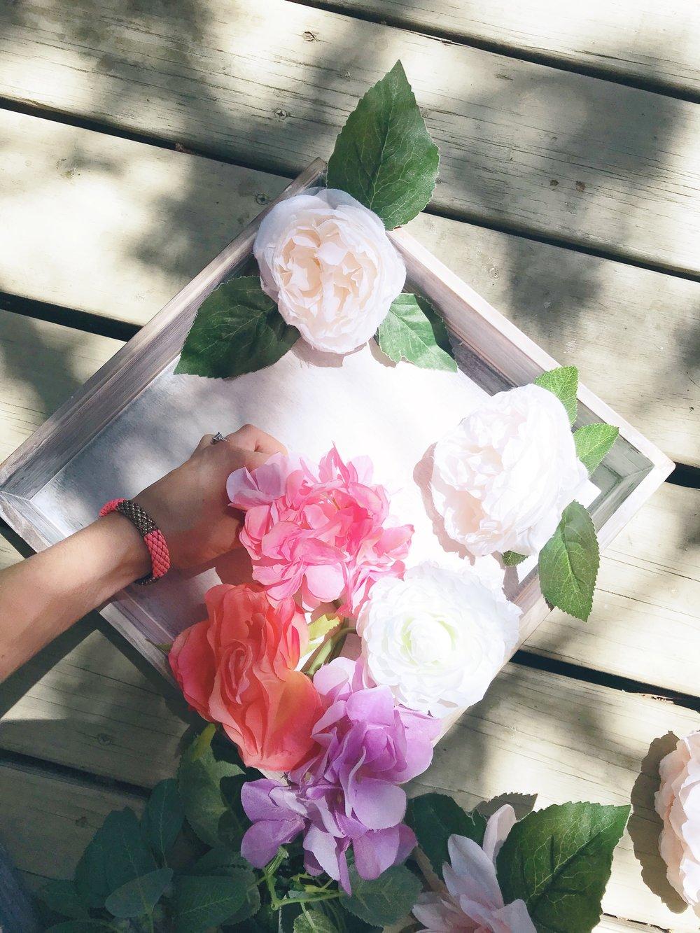 DIY Flower Shadow Box Placing Flowers 1.JPG