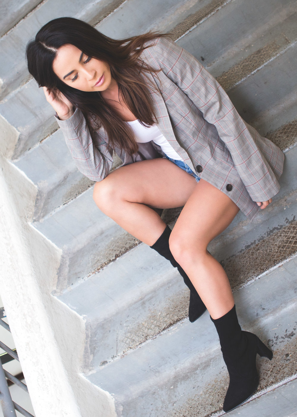 Booties and blazer outfit