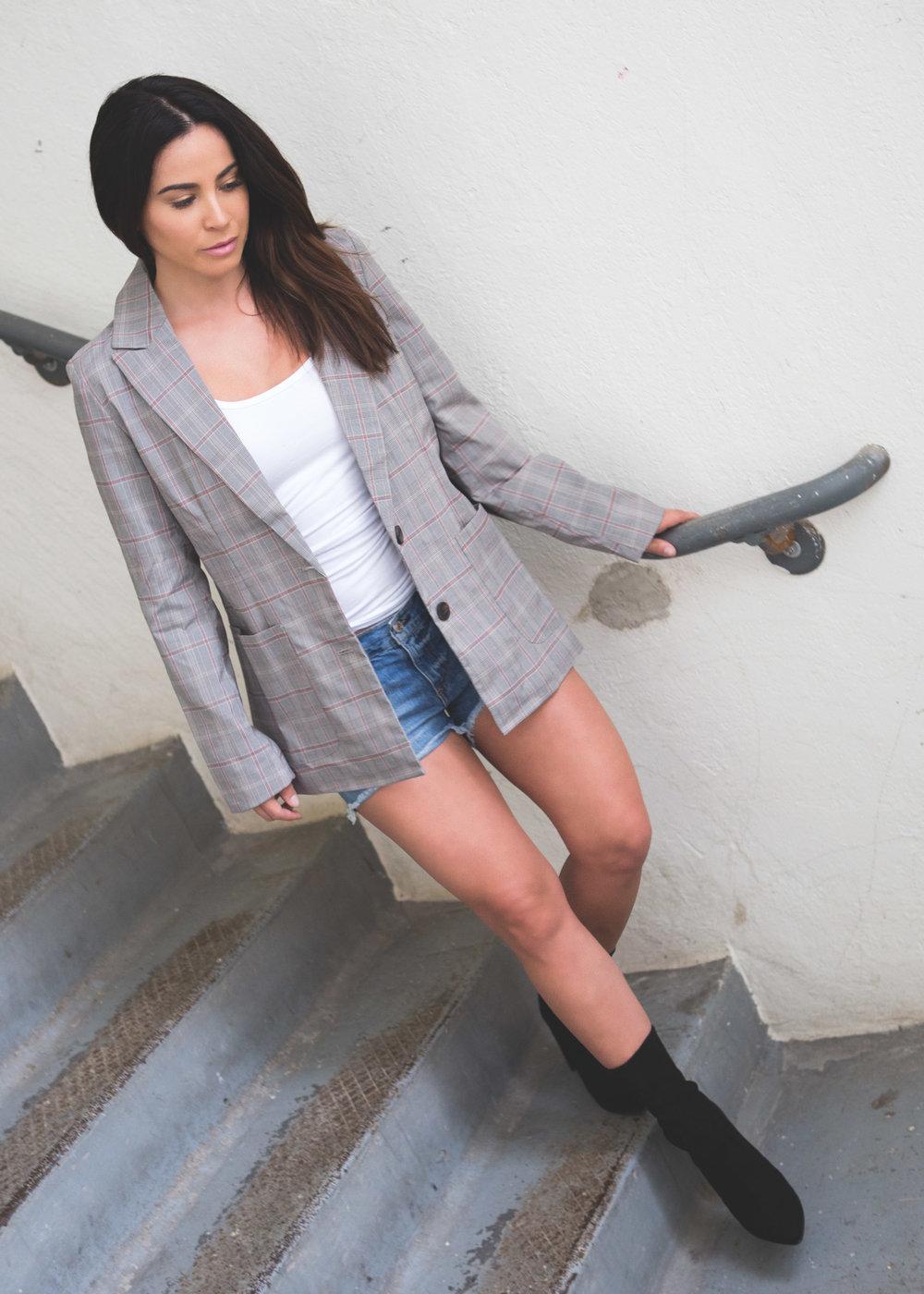 Plaid blazer & booties