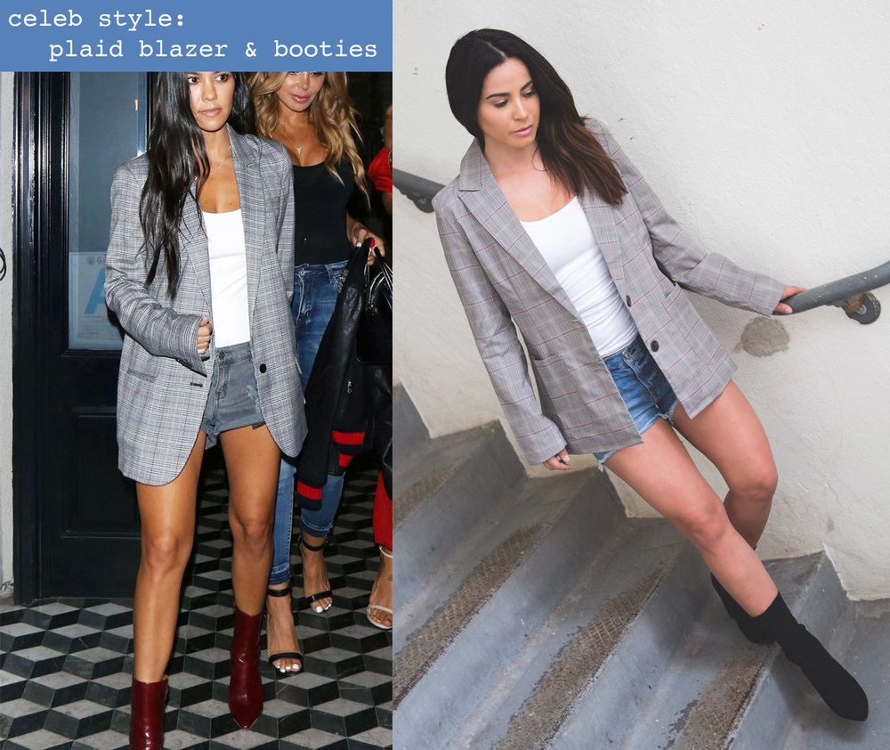 Celebrity style challenge - plaid blazer and booties