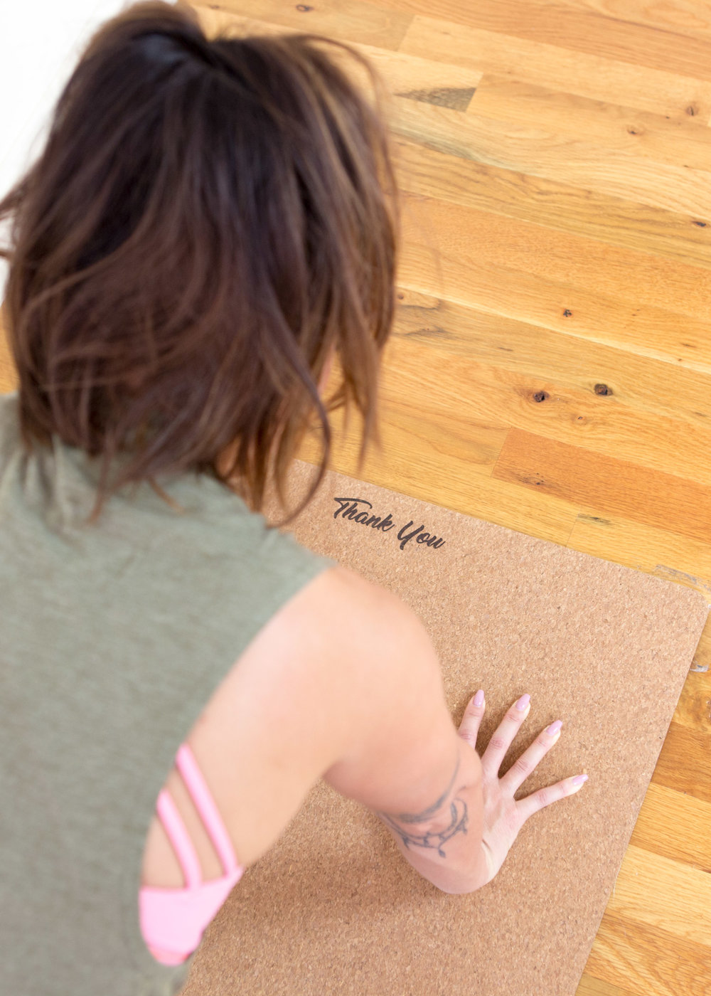 On my Mantra Dog Mat, a customized mat with your mantra (I chose Thank You, which reminds me to stay grateful)