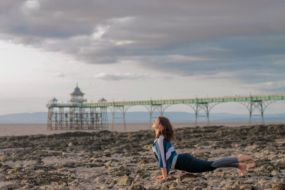 Kat near her hometown at Clevedon Pier