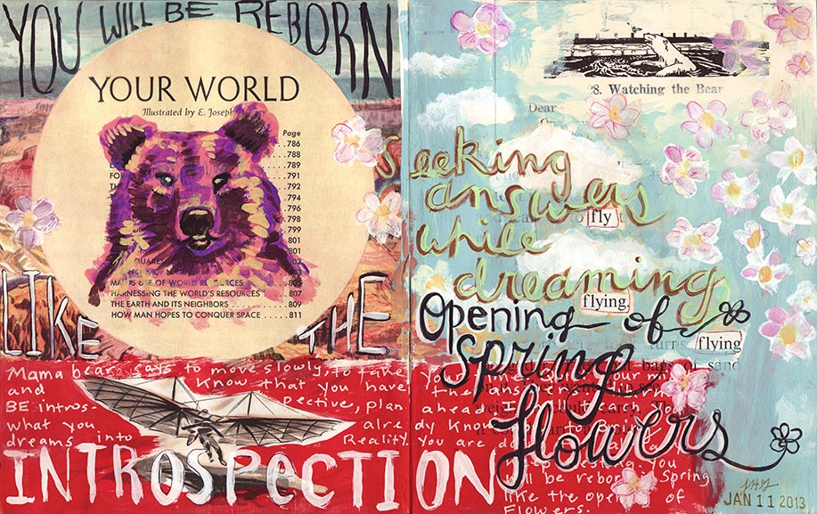 Just one of the spreads of Jessica's work in A World of Artist Journal Pages.