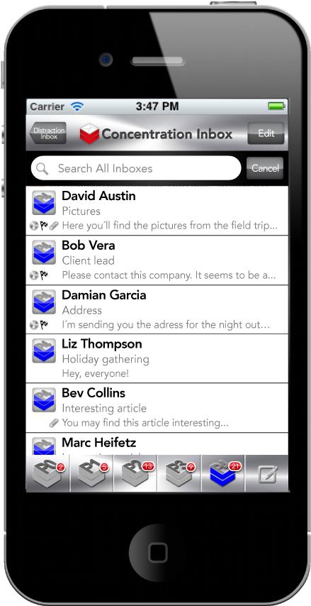 "eRank´s amazing ""Concentration Inbox"" Screen."