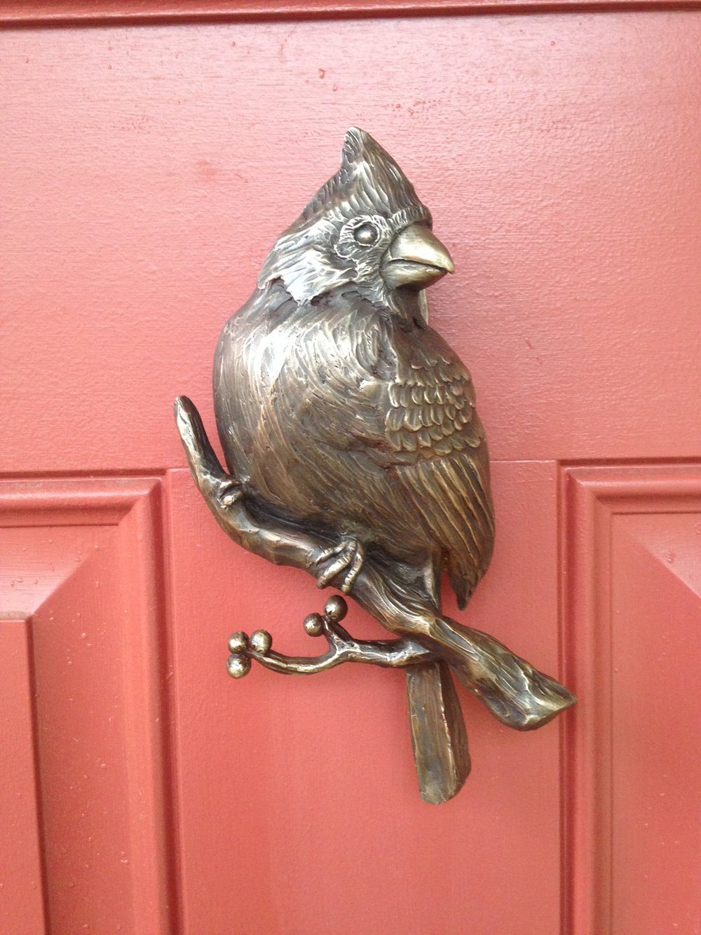 Cardinal door knocker installed