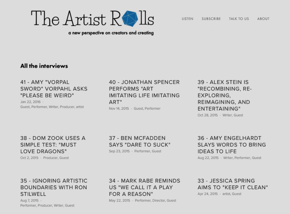 The Artist Rolls - Podcast with a fun new perspective on creators and creating