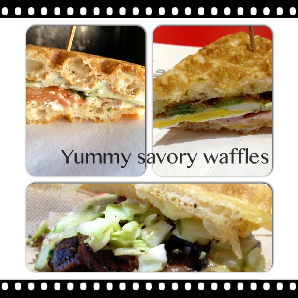Savory Waffles: Smoked Salmon Lox & Dill Cream Cheese, Green Eggs & Ham(grilled ham with arugula pesto), Hot Pastrami Bruxie