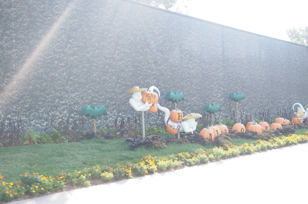 Friendly ghost in this Halloween pumpkin patch greet Guests as they arrive via the Disneyland Tram.