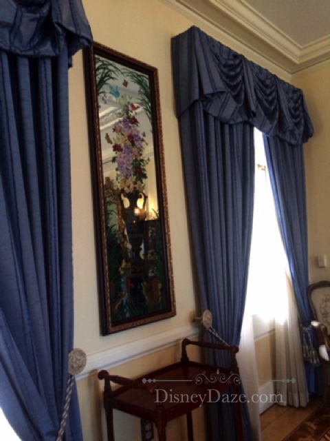 Glass painted mirror located in The Parlor -Disneyland Dream Suite
