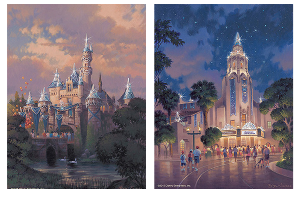 Sleeping Beauty Castle (Disneyland) and Carthay Circle (Disney California Adventure)