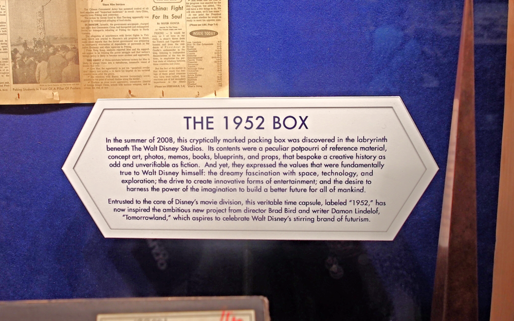 There are lots of movie props at the Tomorrowland Movie Exhibit that includes THE 1952 BOX