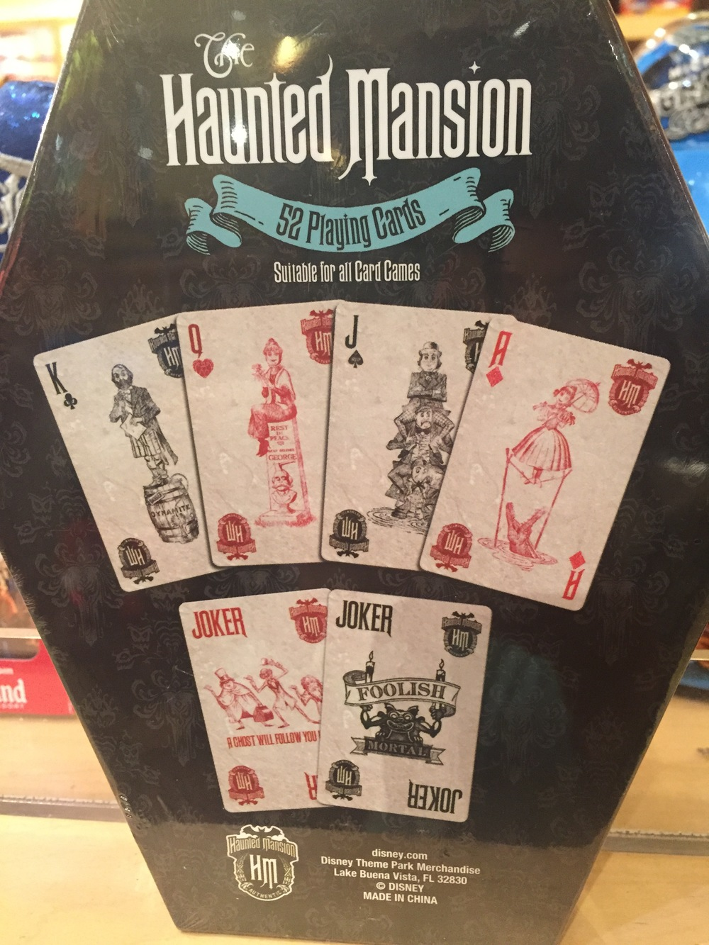 Back of package: The Haunted Mansion playing cards.