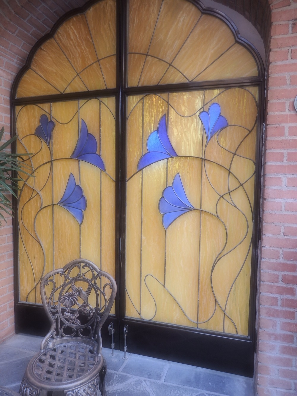 Faux stained glass doors