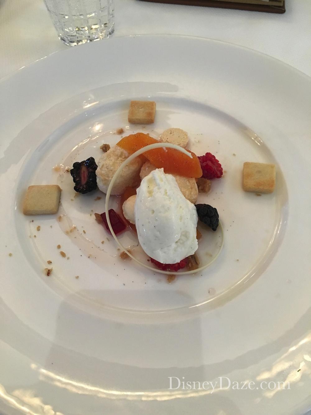 """Peaches & Cream"" Vanilla Panna Cotta, Poached Peaches, Raspberry Pate and Shortbread"