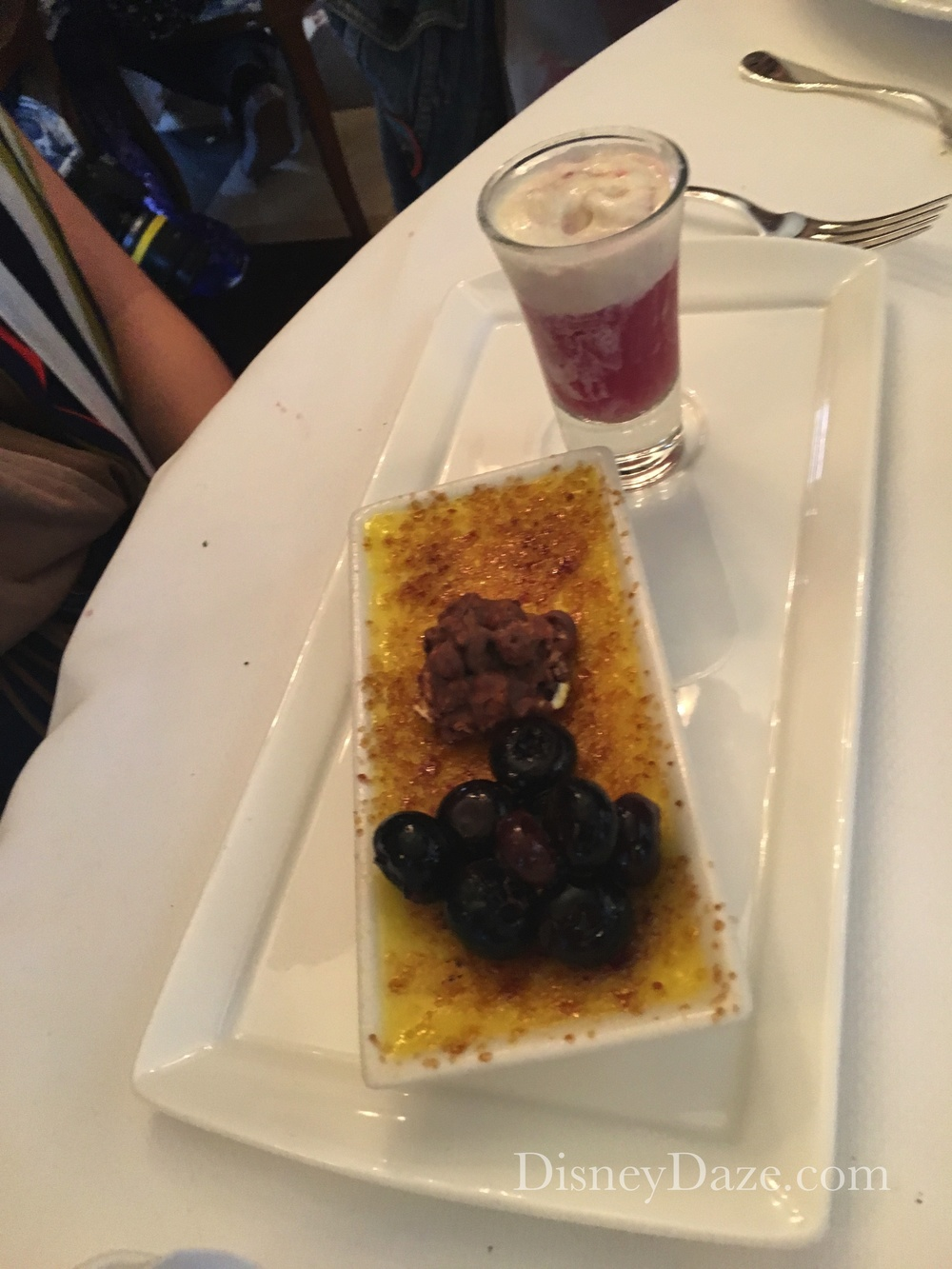 Sweet Corn Creme Brulee with Raspberry Compote, Blueberry Ginger Soda and Pecan Madeleine