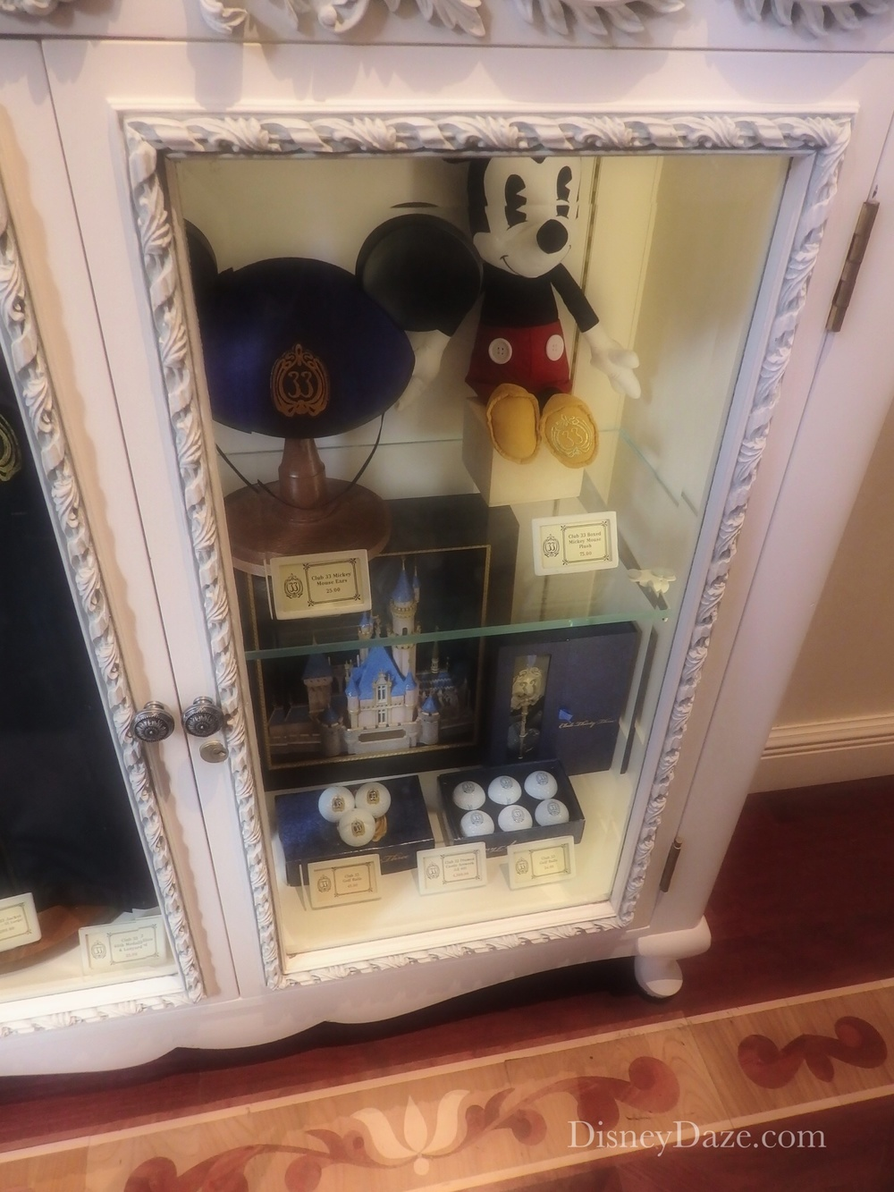 Club 33 Merch Display located on first floor, by entry door.