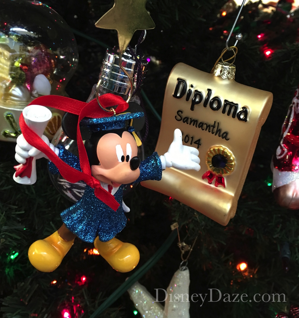 Graduation christmas ornaments - This Mickey Mouse Graduate Ornament Was One I Bought To Commemorate My Daughter S Graduation Someone Else Gave Her The Blown Glass Diploma So I Try To Keep