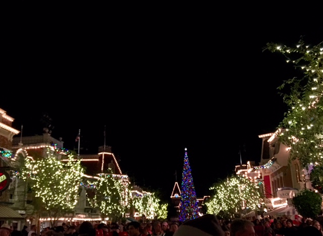 Looking down Main Street USA towards the Christmas Tree.