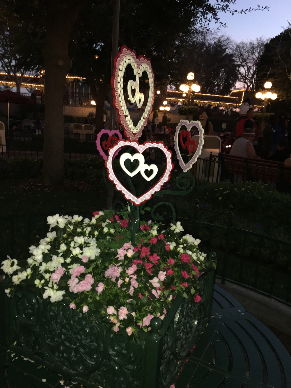 About the only of Valentine's decor located in Town Square