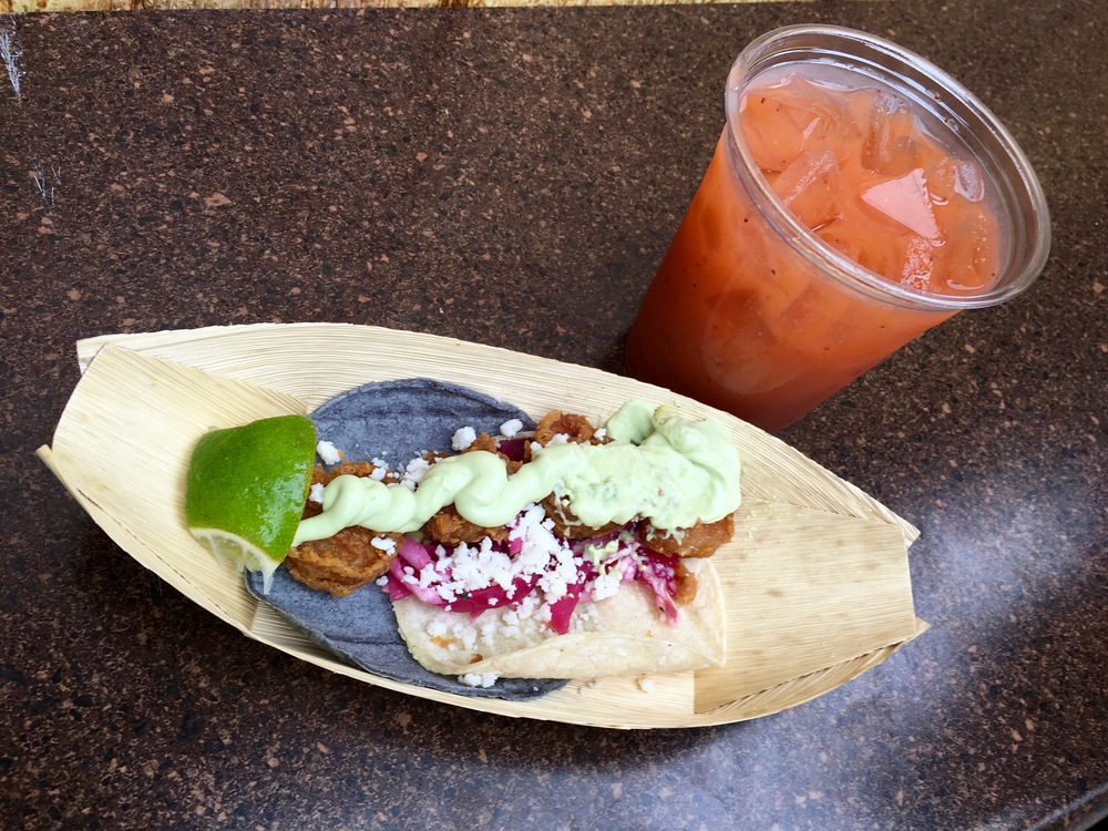Strawberry Mango Agua Fresca and Fried Shrimp Soft Taco