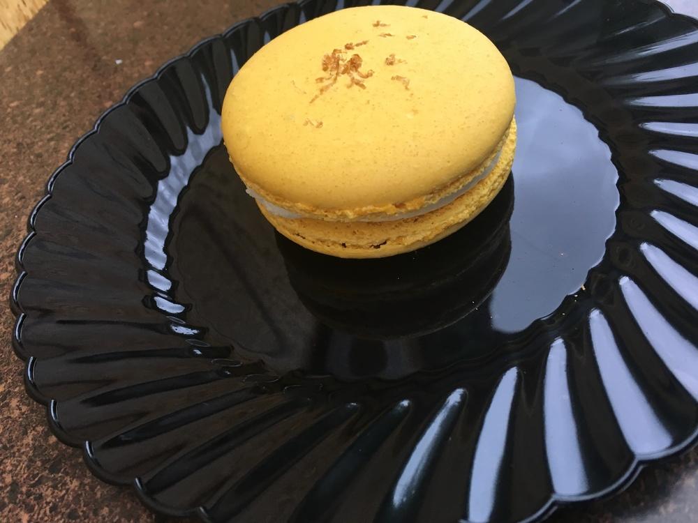 Meyer Lemon Macaron with Blueberry Dust