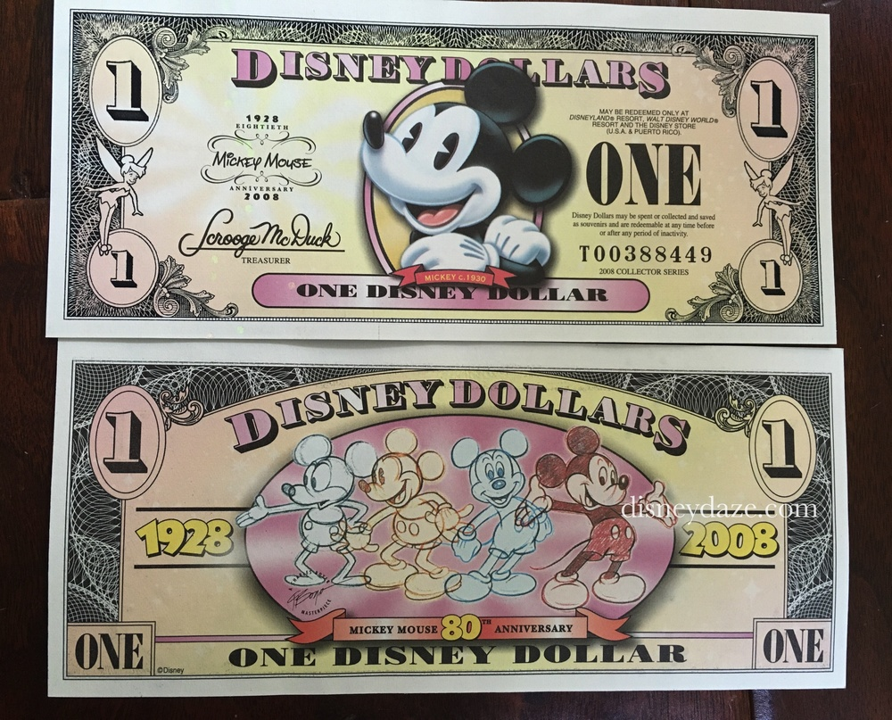 Disney Dollar designed for Mickey Mouse 80th Anniversary