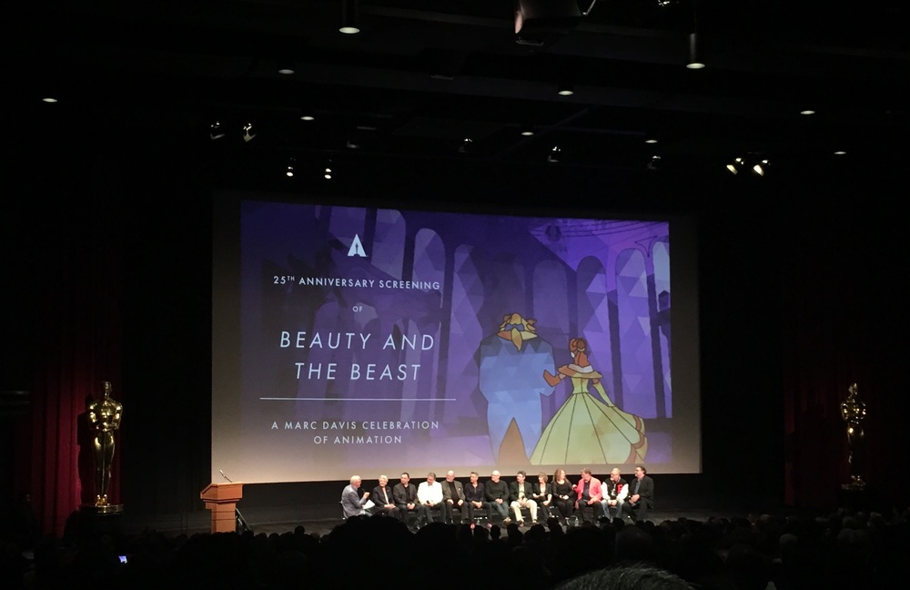 "Voice actors Angela Lansbury, Richard White, Paige O'Hara and Robby Benson, David Ogden Stiers, producer Don Hahn, director Gary Trousdale and supervising animators Andreas Deja, Mark Henn and Glen Keane, key story artist Brenda Chapman, and story supervisor Roger Allers at the Academy Event ""25th Anniversary of Beauty and the Beast in 70mm"" on May 9, 2016 at the Samuel Goldwyn Theater."