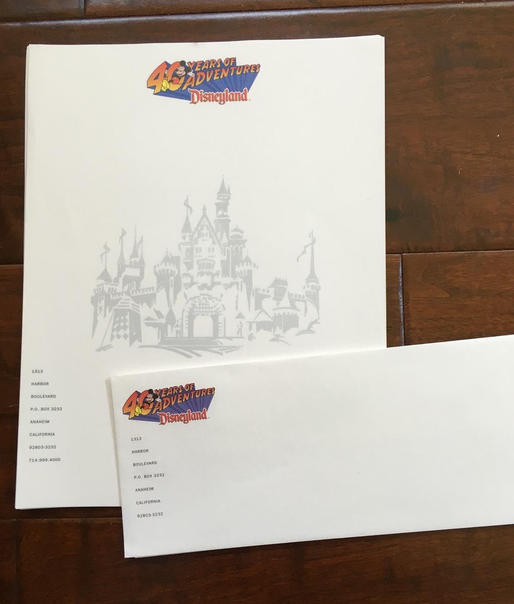Disneyland letterhead designed for 40th Anniversary, 1995