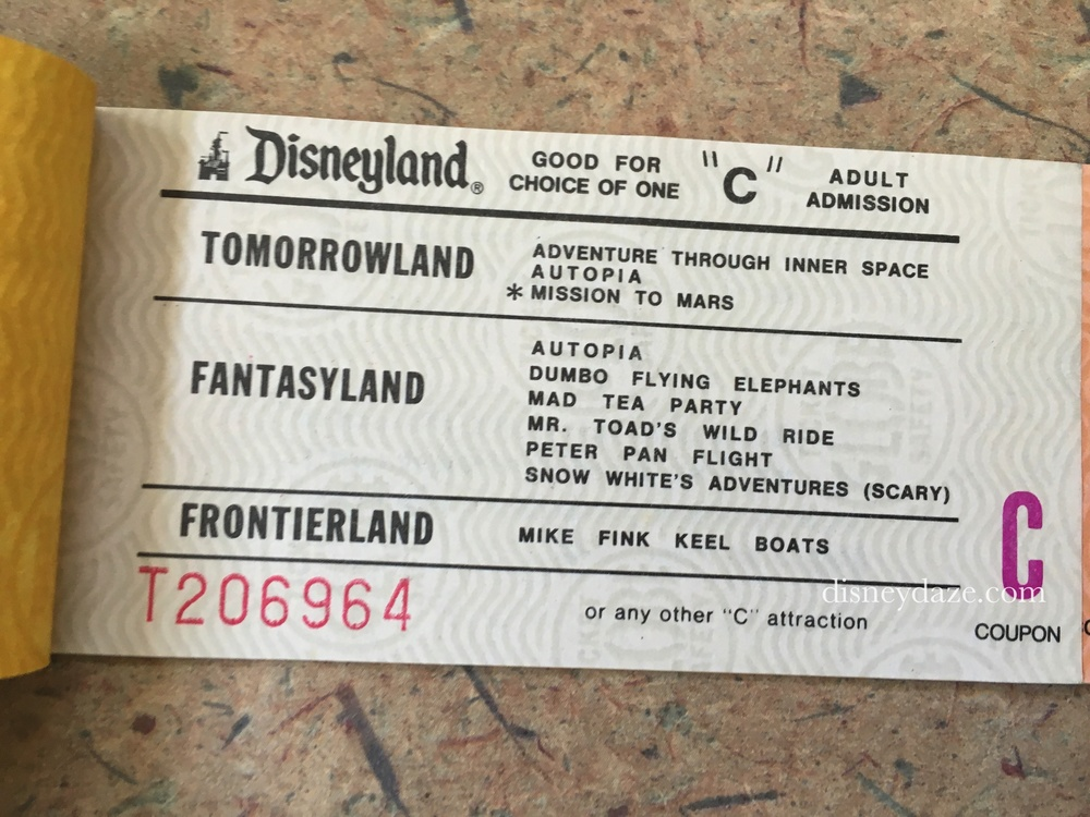 Disneyland C-Ticket (1980)