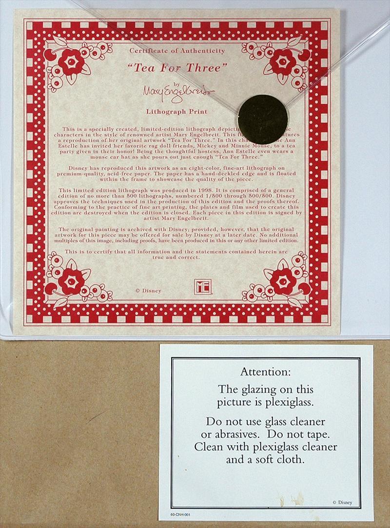 Information on the back of frame.