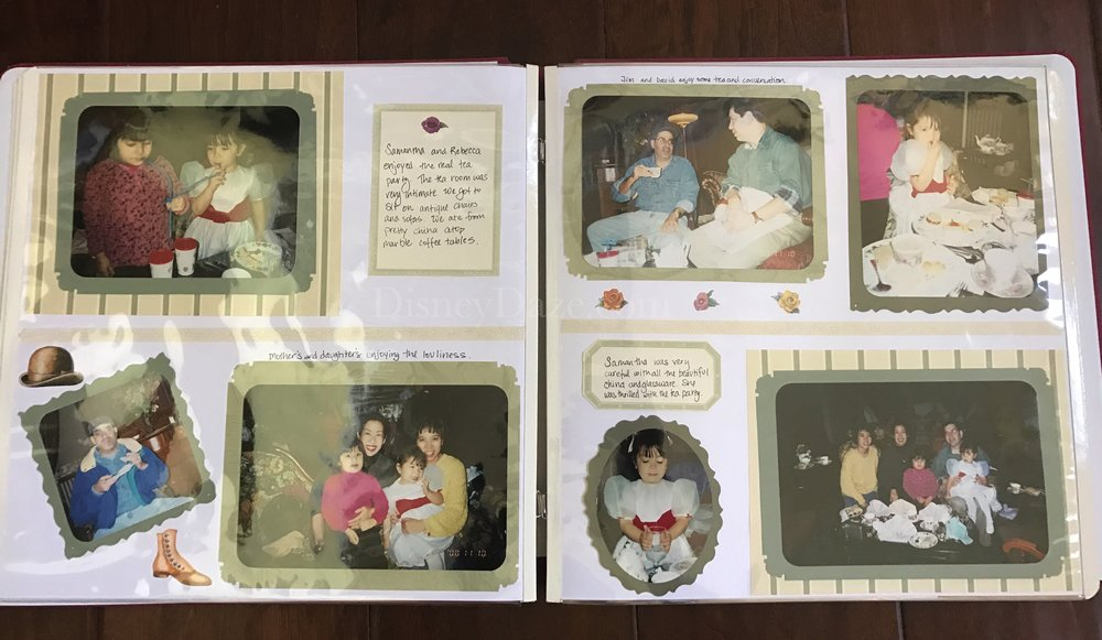Scrapbook page filled with tea party memories.