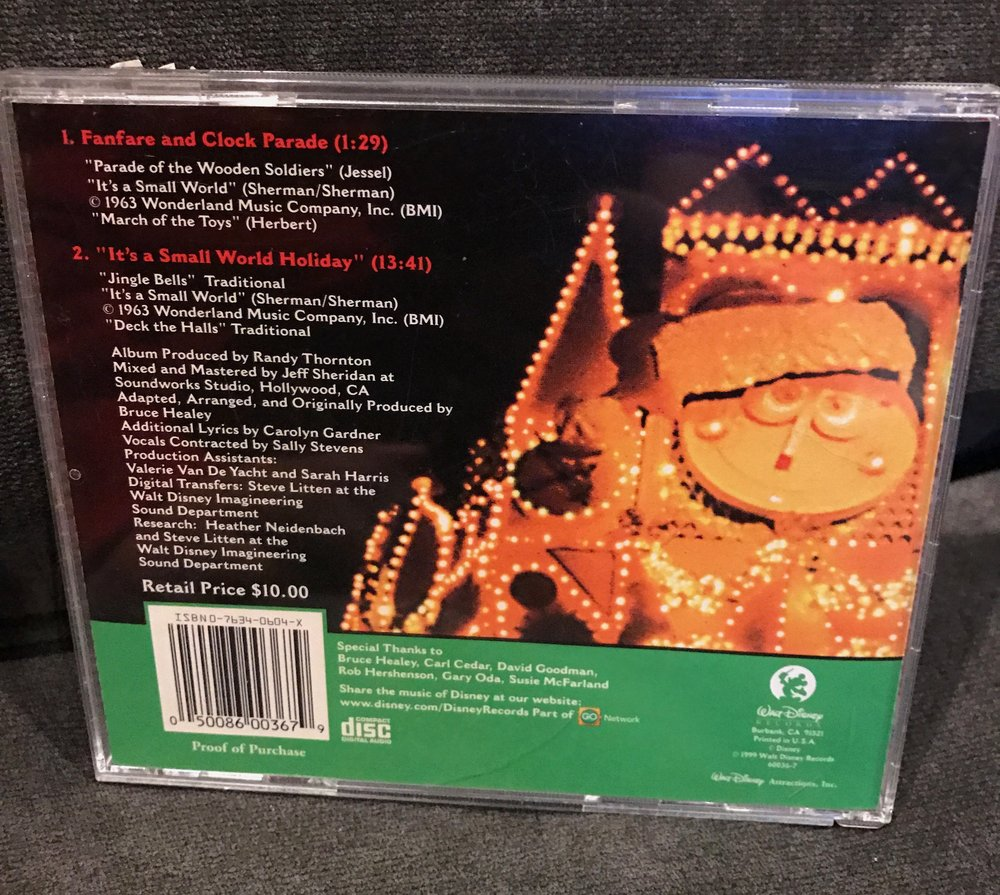 "Back of ""it's a small world holiday"" CD - 1999"