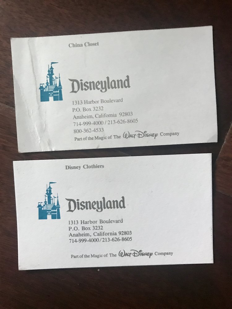 Friday find disneyland store business cards disneydaze many of the stores at disneyland had some very specific items and very different merchandise than today for example the china closet sold reheart