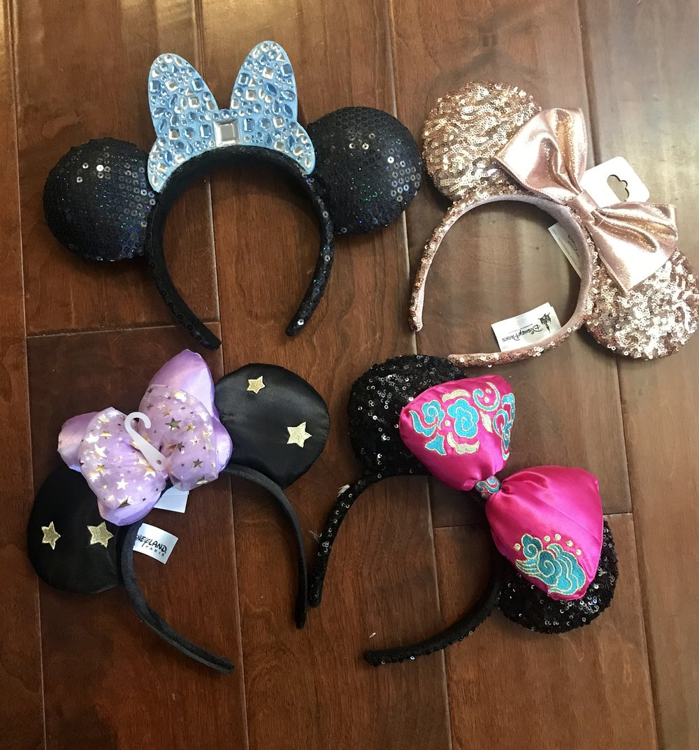 Minnie Mouse headbands from various Disney Parks.