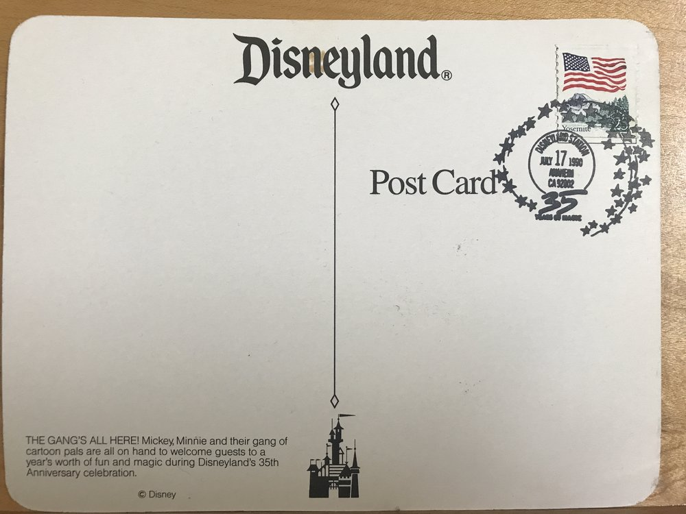 Back image of 35th anniversary postcard, 1990.