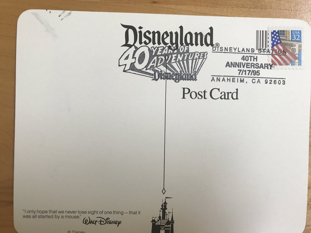 Special cancellation for Disneyland's 40th birthday, June 17, 1995.